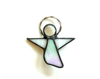 Stained glass angel jewelry pin, glass brooch, iridescent pearly angel gift under 25, lapel pin, angel on my shoulder, gift for her