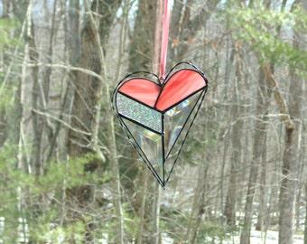 Stained glass heart suncatcher, modern funky heart, hanging heart, bevel heart, glass and wire heart art, love heart, pink abstract heart