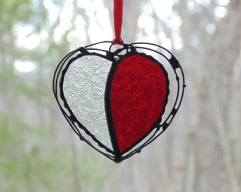 Stained glass heart suncatcher, glass and wire heart, red clear textured glass heart gift under 20, unique ooak heart art