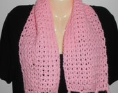 Crocheted pink scarf//fringe//gift for girls//winter accessories//20% off use code: ClearanceSale