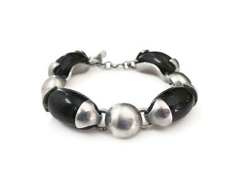 Mexican Sterling Onyx Glass Bracelet - Sterling Silver, Modernist Jewelry, Mexico 925, Vintage Bracelet, Vintage Jewelry