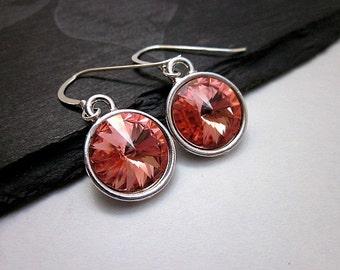 Rose Peach Swarovski Crystal Earrings -- Silver & Peach Pink Earrings -- Peach Pink Crystal Earrings -- Peach Dangles --Pinky Peach Earrings