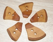 "5 Handmade  apple wood buttons, accessories (1,77"" diameter x 0,24"" thick)"