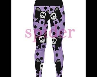 Skull Bow Leggings Polka Dot  Black and Lavender  Spooky Cutie Stretchy  Yoga Pants Pre-Order
