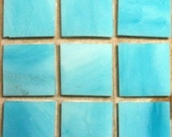 """MG590100 Azurite Sky Blue 3/4"""" Stained Glass Mosaic Tiles -25pc//Discount Mosaic Supplies//Mosaic"""