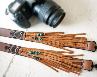 Fringe Camera Strap - Leather and Suede Bohemian Purse, Binoculars or Camera strap - Native Vintage Boho Style - Made to Order