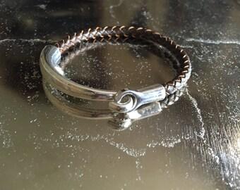 Everyday bracelet, brown leather bangle, braided leather bracelet, antique silver clasp, boho chic, graduation gift
