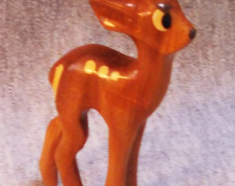 REDUCED Christmas Deer Figure, Woodland, Small Hand Carved