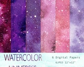 Universe Paper Watercolor, High Resolution, Digital Files, Clipart, Background Papers, Pinks, Purples, Digital Scrapbooking, Printable