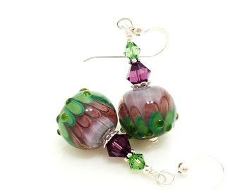 Purple Green Earrings, Lampwork Earrings, Glass Earrings, Beadwork Earrings, Lotus Flower Earrings, Glass Art Earrings, Unique Earrings