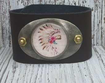 Boho Tribal Head Dress Soldered Leather Cuff