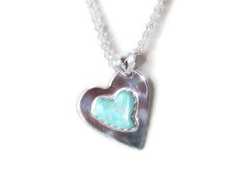 Sterling Silver Pendant with Turquoise Heart Cabochon from the Kingman Mines in Arizona, Stone is Cut by Native American