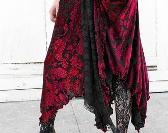 RED WINE VELVET witchy stretch velvet burnout maxi skirt