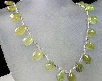 ON SALE Grossular Garnet Briolettes, Green Garnet Pears, Smooth Pear Briolettes, Golden Green, Yellow Green - 1/2 strand