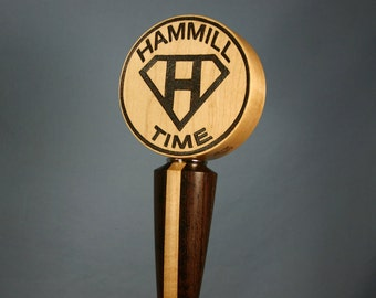 Custom Wood Beer Tap Handle Woodburned with Your Beer Logo - Made to Order