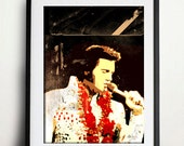 Elvis Presley art print rock n roll poster style pop black hawaii graceland king music holiday
