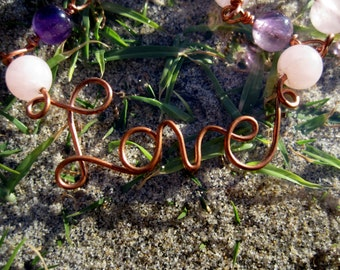 Love///Copper, Rose Quartz, Amethyst, and Copper Handmade, Wire Wrap Link Necklace, One of a Kind