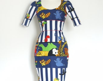 Circus Animals Cartoon Print Pencil Dress - Made by Dig For Victory