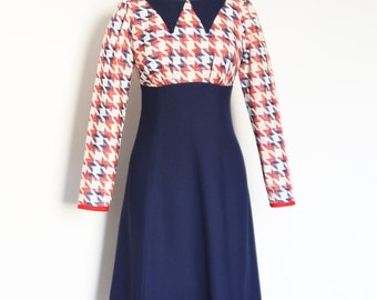 Red & Blue 70's Geometric Weave and Navy Crepe High Waisted Dress with Matching Collar- by Dig For Victory
