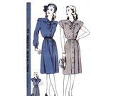 ON SALE 1940s Plus Size Shirt Dress Sewing Pattern Cap Sleeves Button Front Pussy Bow Hollywood 1577 Bust 40 inches UNUSED Ff Sew For Victor