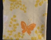 Vtg King Size Pillowcase - Pastel Yellow with Orange and White Butterflies