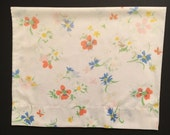 2 Vintage Pillowcases - Blue Orange and yellow Flowers and Butterflies