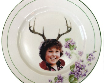 Deer Ol' Chunk Portrait  - Altered Vintage Plate 7.15""