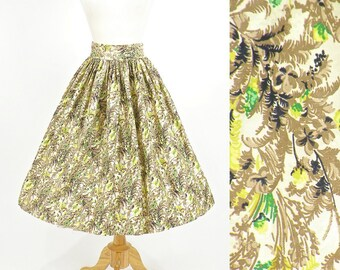 Vintage 1950s Skirt, 50s Skirt, Floral Cotton Summer Skirt, Full Skirt Small