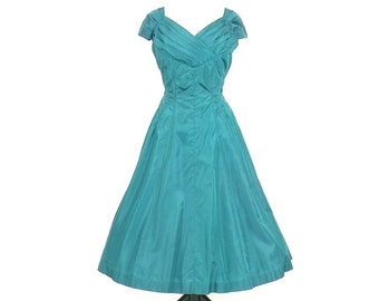 50s Party Dress, 1950s Dress, Leslie Fay Teal Taffeta Full Skirt 50s Dress, M - L