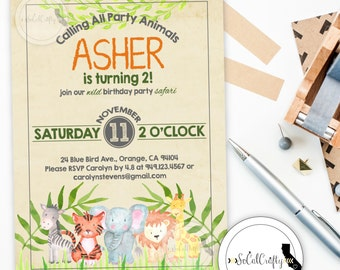 Safari Animal Birthday Party Invitation, Watercolor Invite, Zoo Party, Lion Tiger Elephant, Printed or Printable Invitations, Free Shipping
