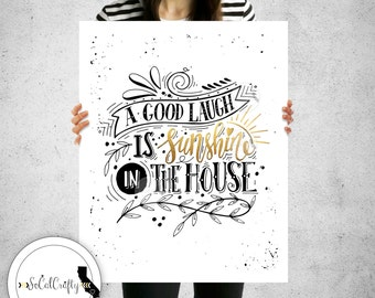 Inspirational Quote Wall Print, Typography Print, Gold Leaf Monochrome Black and White, Wall Art, Digital Print, 8x10 Instant Download