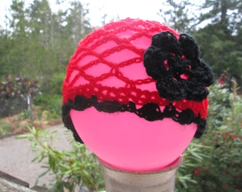 Red and Black Cloche for Babies by SuzannesStitches, Baby Girl Summer Cloche, Baby Girl Summer Hat, Baby Girl Sun Hat, Crochet Hat, Cloche