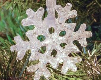 Snowflake Dichroic Rainbow Glass Christmas Ornament