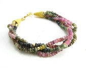 Watermelon Tourmaline Gemstone and Gold Bracelet Handmade Gemstone Jewelry BooBeads Watermelon Tourmaline Twisted Bracelet