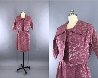 Vintage 1960s Day Dress / 60s Dress & Jacket Set / 1960 Wedding Suit / Satin Damask Dress / Pink and Silver Grey