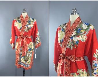 Vintage 1930s Silk Kimono Robe / Silk Robe / 30s Silk Wrapper / Flapper Dressing Gown / Art Deco / Tomato Red Orange Floral