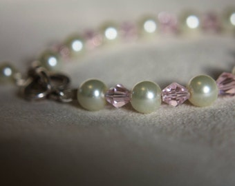 Pearl and Pink Crystal Sterling Silver Heart toggle bracelet