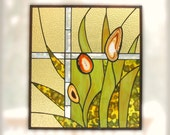 Nature Stained Glass Panel Yellow Green Modern Agate Grass Flower Stained Glass Window Panel Handmade OOAK - Wild Grass