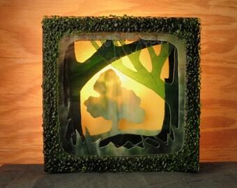 Shadow Box Lantern Illuminated Assemblage Art Light Box Silhouette Tree Woods Shadow Box Handmade OOAK
