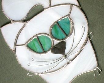 Stained Glass Suncatcher White Cat Green Eyes Handmade OOAK
