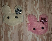 BUNNY RABBIT Baby Snap Clip - You Choose ONE - White or Pink