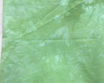 """Hand Dyed Green Colored Fabric, Dyed White Kona Cotton Muslin, Green Fabric, 20.5"""" x 33.5"""", Quilt Fabric, Sewing, Craft, Applique"""