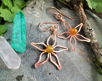 Gemstone Flower Earrings, Sterling Silver/Copper/Oxidized Copper/Brass Comes in a hand-sewn gift bag