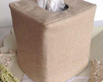 Hemstitch Natural Beige Linen reversible tissue box cover