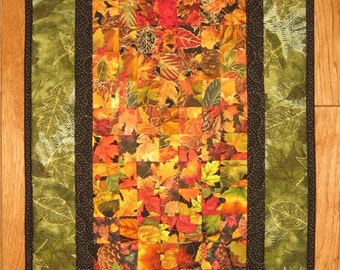 Autumn Fall Art Quilt, Fabric Wall Hanging, Fall Leaves Green Orange Red Brown, Fall Autumn Decor, Table Runner, Wallhanging, Abstract Art