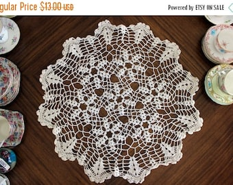Crochet Doily in Cream, Hand Crocheted, Large Lacy Crocheted Doilies, Vintage Table Linens 13667