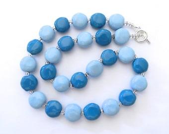Ceramic Necklace, Kazuri Bead Necklace, Light Blue and Turquoise Necklace