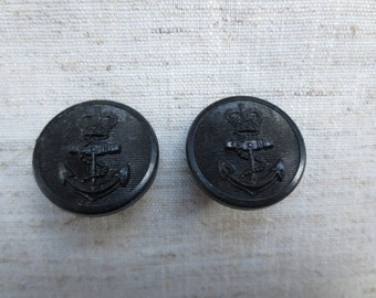 Vintage nautical anchors away design black plastic metal shank buttons. Wholesale lot of 2 .