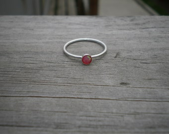 Simulated Pink Opal Stacking Ring, Sterling Silver, Size 7.5