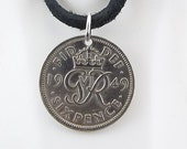 1949 English Six Pence Necklace, Mens Necklace, Womens Necklace, Sixpence, Coin Pendant, Leather Cord, Vintage